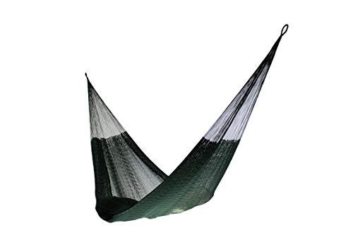 Matrimonial Size Cotton Hammock (Dark Green) Handmade in Mexico Genuine Mayan Hammock Ideal for 2 people