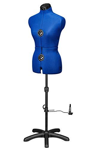 Deubl Schneiderpuppen Damen verstellbar Majestique Blue Multi (Gr.S/36-42) 8-teilig komplett einstellbar, 5-Bein Fuß, Rockabrunder, Rückenlängenverstellung, Schneiderbüste mit Beinansatz