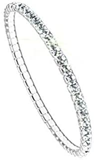 Swarovski Braccialetto Elastico, Argentato, Senza Nickel, l 17,3cm, 1 pz. PP32 Crystal F (101)