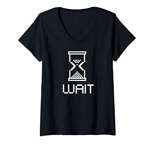 Damen 8 Bit Wartezeit mit Eieruhr T-Shirt mit V-Ausschnitt