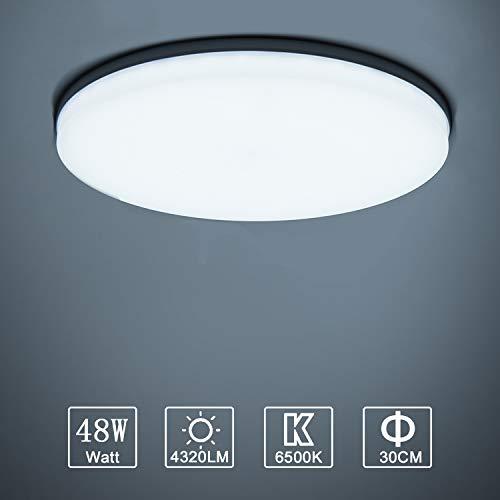 Yafido Plafonnier LED 48W UFO Panel Rond Lampes de Plafond Moderne Ultra-mince LED Lampe 4320LM Blanc Froid 6500K Facile à installer Applicable à Salle de Cuisine Salon Balcon Ø30*4cm