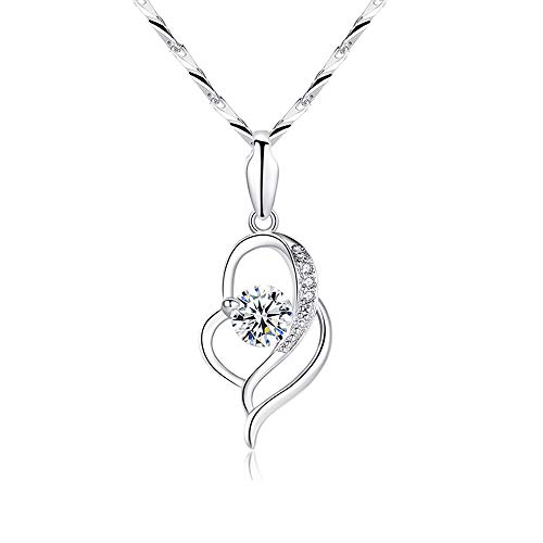 Shuxin Silver Necklace for Women, 925 Sterling Silver Heart Pendant & 40 + 5cm Chain, with White AAA Cubic Zirconia, Allergy Free Jewellery for Mother Wife Girlfriend, Come in Jewellery Gift Box