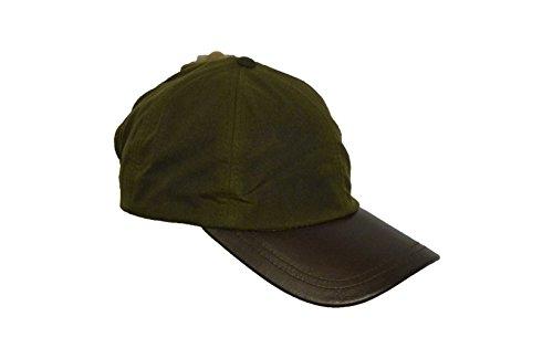 WALKER AND HAWKES Unisex Baseball-Kappe aus gewachster Baumwolle - Schirm aus Leder - Einheitsgröße Khaki