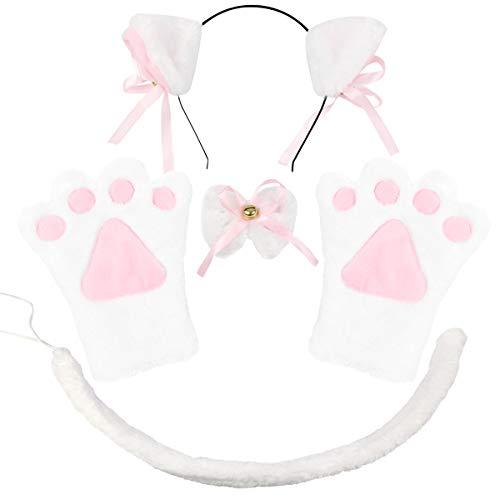 ECOMBOS Katzen Kostüm Zubehör - Katzenohren, Fliege, cosplay für katzen Tierkostüm Adorable Party Kostüm Zubehör Cosplay Halloween Mädchen Damen Mädchen und Kinde (Katze-Weiß)