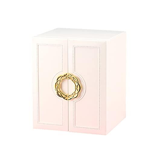 XIAOXIAO Organizador De Caja De Joyería Diseño De Puerta De Doble Apertura Y Cajón De 5 Capas Vitrina De Almacenamiento De Joyas para Collar De Anillos Y Pendientes Cuero PU (Color : White)