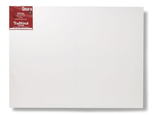 """Studio 71 Medium Weight Traditional Stretched Canvas – 30"""" x 40"""" Painting Canvas for Oil or Acrylic Paints, Triple Acrylic Primed Wood Frame Canvas, Acid-Free"""