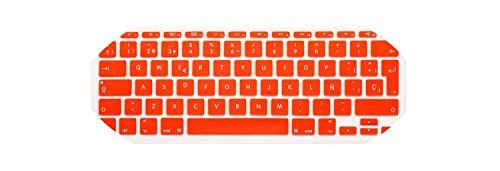 Membrana della tastiera color Waterproof Ultra thin Spanish Silicone Keyboard Covers Keypad Skins Protector For Mac book Air 11.6' EU Version,Orange