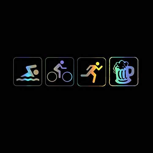 DSRLO Autoaufkleber 17,7 * 4,2 cm Lustige Autoaufkleber Triathlon Swim Bike Run Und Bier Auto Aufkleber Vinyl SilhouetteSchwarz/Silber/Laser