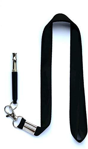 KLSwag Hundepfeife gegen Bellen, Ultraschall-Patrolle, Geräuschabwehr – verstellbare Tonhöhe in Schwarz, inklusive Umhängeband