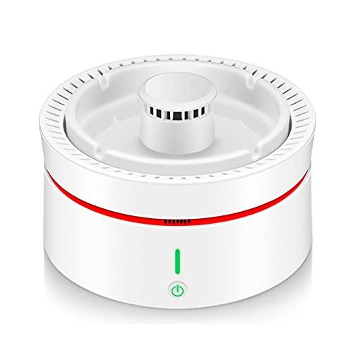 Portátil Smart Cenicero Sin Humo, USB Cerámica Fumar Agarrador Purificador Ceniza Bandeja Triple Filtración Purificación Aire Detección Lámpara 3-Marcha Ventilador Turbo Protege Salud(Color:Blanco)
