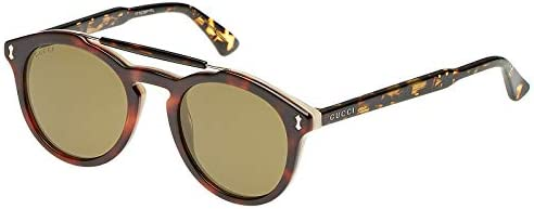 Gucci Oval Unisex Sunglasses - Gg0124S00450-50-22-145 mm, Brown Lens