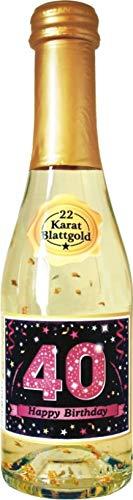 AV Andrea Verlag Pfeif auf's Alter Neutral im Geschenke Set für Frauen zum Geburtstag mit Piccolo 22 Karat Blattgold Gold pink lila schwarz (Piccolo HB pink 40 56018)