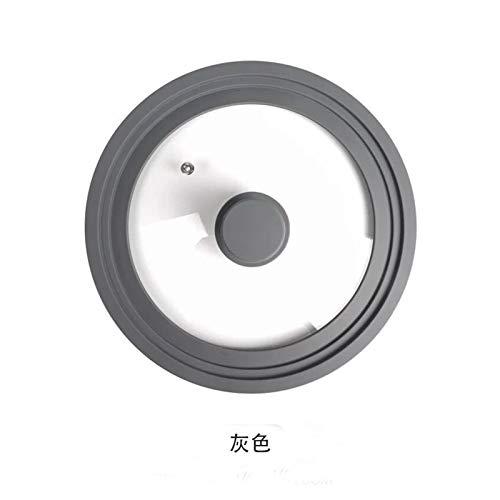 JinHongShop - Sartén de 28 – 30 – 32 cm con tapa de cristal, tapa para sartenes de vidrio y tapa redonda de silicona (color: gris, tamaño de la hoja: 22 24 26 cm)