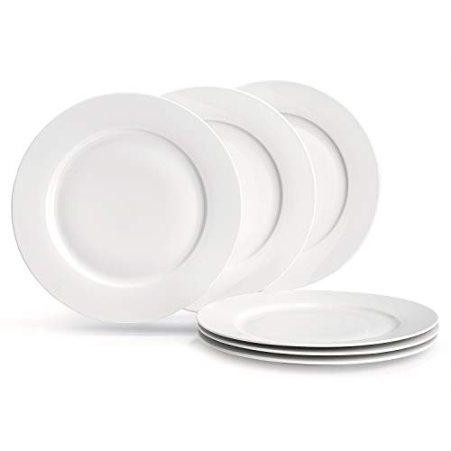 SUNTING Classic 6-Piece Porcelain Cream White Dinner Plates, 10,6' Round Dinner Set Ceramic Dinnerware Set New Bone China Durable Serving Plates