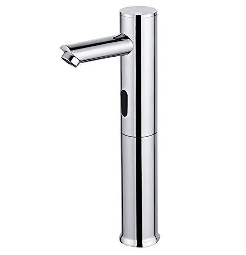 Homssy - Grifo electrónico de lavabo (Alto) L2, grifo con sensor automático mezclador 2 aguas (Caliente y fría), Cromo
