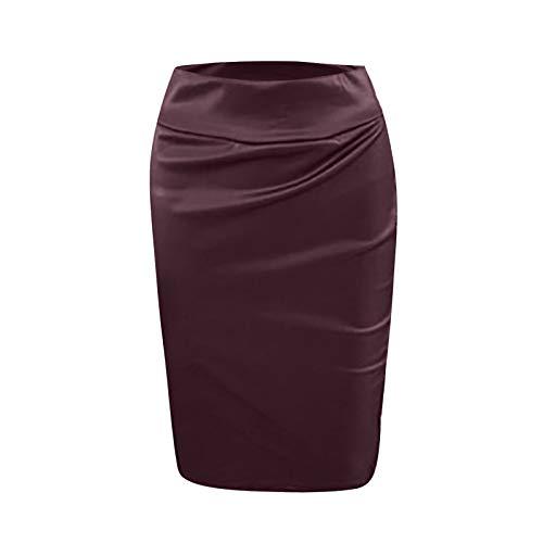 minjiSF Falda de piel para mujer, sexy, monocolor, aspecto mojado, elegante falda hasta la rodilla caf L