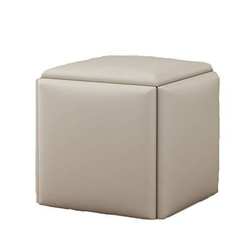 Taburete Bajo para Visita Multifuncional 5 En 1 Cubo De Rubik Reposapiés Tapizado Cuero PU Ahorra Espacio Cambio De Reposapiés para Salón Dormitorio 46X 45X 45 Cm,Blanco