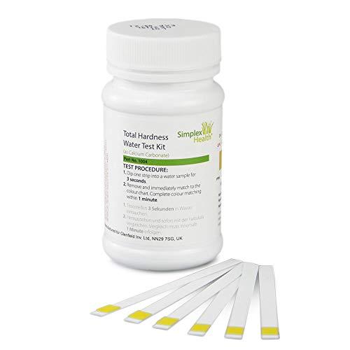 SimplexHealth Trinkwasser Wasserhärtetest Härte/Gesamthärte, 50 Teststreifen, zuverlässige und schnelle Ergebnisse