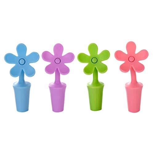 UPKOCH 5 Tapones de Silicona para Vino, Forma de Flor, para Botellas de champán, Reutilizables, para Mantener el Vino Fresco (Color Aleatorio)