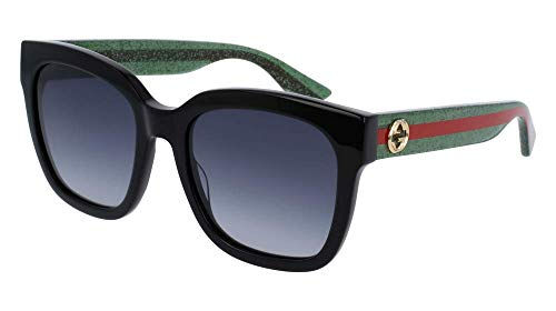 Gucci GG0034S 002 54M Black/Green/Grey Gradient Square Sunglasses For Men For Women+FREE Complimentary Eyewear Care Kit