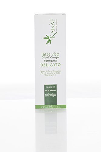 Huile de Chanvre – Lait visage délicat en crème – Avec huile d'amandes douces et vitamines et, C – 100% naturel, pour une peau Plus lumineuse Tonique et compacte