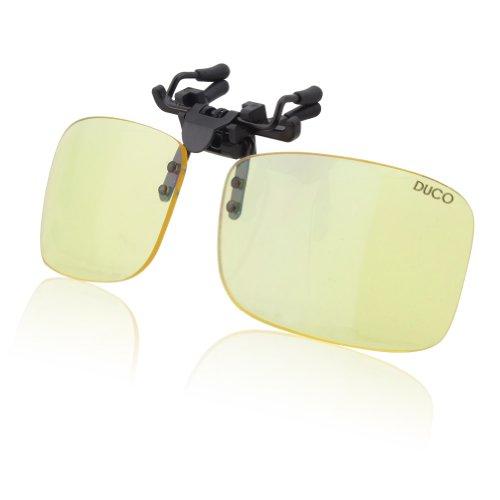 DUCO Clip Randlose Ergonomische Computer Brille mit Bernsteinfarbe Gläsern für Kurzsichtigkeit 8012 (Glasbreite:55MM/Glashöhe:36MM)