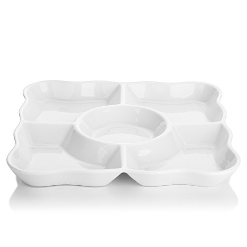 Dowan Divided Serving Trays, Porcelain Serving Dishes for Parties, Set of 2, Dishwasher Safe, 9.4 Inch Perfect for Chips and Dip, Veggies, Snacks, White, Pack of 2