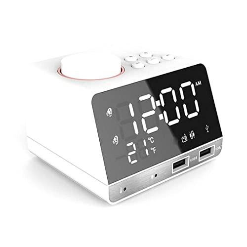 ワイヤレス目覚まし時計スピーカー2つのUSBポートを備えたデュアル目覚まし時計ミラーステレオコンピューター車のスピーカー時計ラジオワイヤレススピーカー