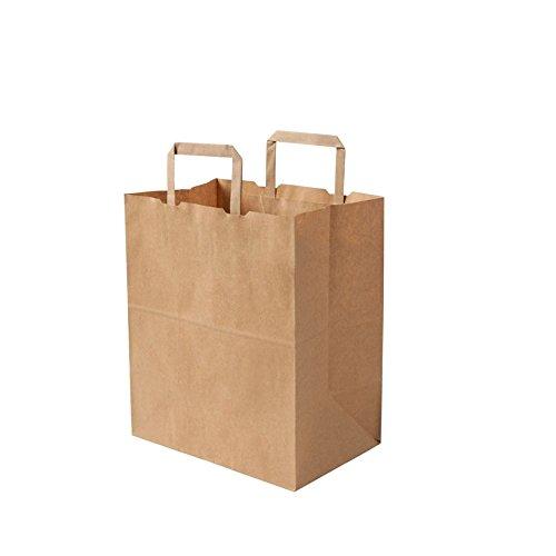 BIOZOYG Umweltschonende Papier Tragetaschen groß I Papiertüten Geschenktüten Papiertragetaschen biologisch abbaubar, kompostierbar I 250 x braune Papier Tüten 26 x 17 x 25 cm