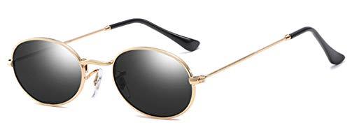 Gafas de Sol Gafas De Sol Pequeñas con Espejo Ovalado para Mujer, Gafas De Lujo para Hombre, Gafas De Sol De Aleación para Mujer, Gafas Uv400, Gris Dorado