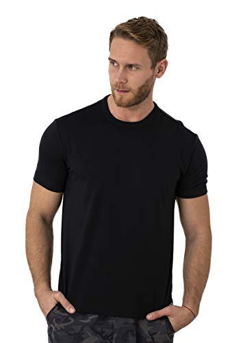 Merino.tech 100% NZ Organic Merino Wool Lightweight Thermal Base Layer Men's T-Shirt (Large, Black)