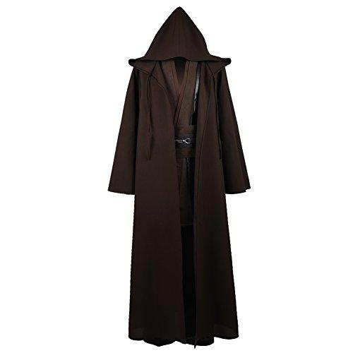IDEALcos Anakin Luke Skywalker Cosplay Kostüm Mantel Halloween Robe Outfit Anzug für Erwachsene Männer (M, Braun)