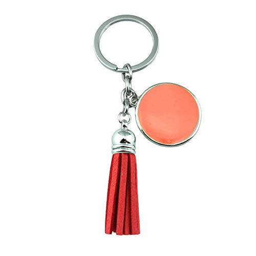 Dpsyszd Schlüsselbund Schlüsselanhänger Tassel Gravierte Auto Keychain weiblich (Color : Silver Coral)
