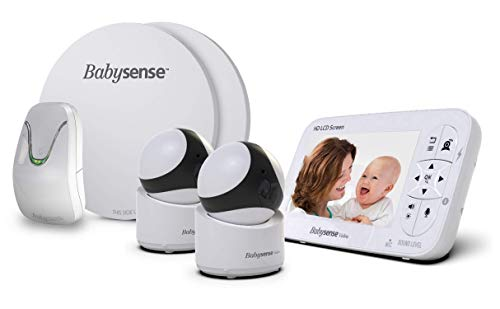 Babysense Video & Baby Movement Monitor - Bundle Pack - Babysense Video Baby Monitor V65 HD 720P with Two PTZ Cameras & Babysense 7 Under-The-Mattress Baby Movement Monitor - 2 in 1