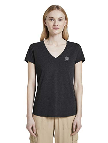 TOM TAILOR Denim Basic V-Neck T-Shirt, 10522-Shale Grey Melange, XS Donna