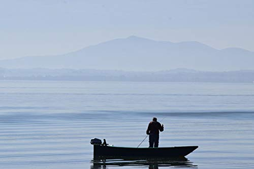 ING Wall Art Print on Canvas(32x21 inches)- Umbria Trasimeno Fisherman Lake Water