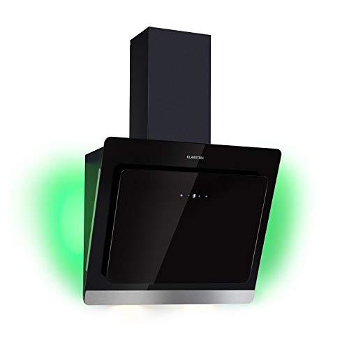Klarstein Aurora Eco 60 Dunstabzugshaube mit drei Leistungsstufen, Deluxe Edition, 60 cm, bis 550 m³/h, Umluft & Abluft, Kochfeldbeleuchtung, besonders leise, kopffrei, Effizienzklasse A++, schwarz