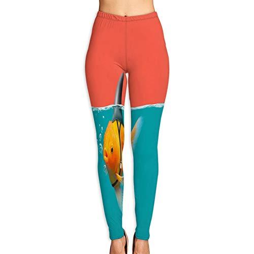 Benle Yogahosen Damen,Goldfisch Haifischflosse Schwimmen grünes Wasser,Hoch taillierte Trainingshose Gedruckte Yoga Stretch Strumpfhose S