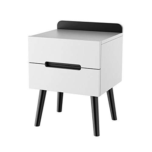 mesita de noche madera con 2 Cajones - Mesa Auxiliar Cama Mesilla Sofa Comodas Cajones Gabinete Pequeño para Salon Dormitorio(blanco/negro)