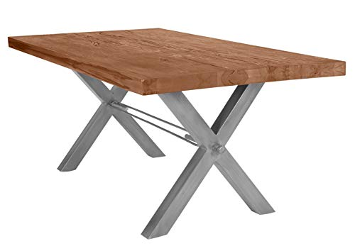 Woody24 Tisch aus Balkeneiche massiv, Eisengestell ab 180x100-180x100-Eisen Silber