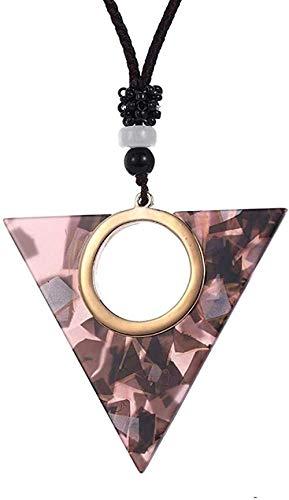 Mxdztu Co.,ltd Collar con Colgante De Triángulo Geométrico Hueco Simple, Collar con Colgante De Placa De Ácido Acético, Joyería De Personalidad