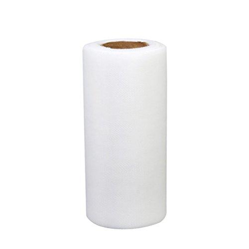 ROSENICE Rotolo di tulle di cerimonia nuziale di 22M * 15CM Banquet Wedding DIY Tulle Craft Tutu Decorazione (bianco)