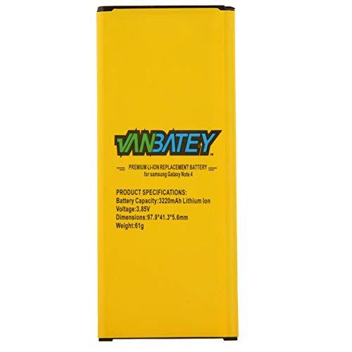 VanBatey Batería para Samsung Galaxy Note 4EB-BN910BBE 3220mAh NFC Reemplazo interno de iones de litio Compatible con N910 N910C N910F N910FQ N910U N9100 N910A N910H
