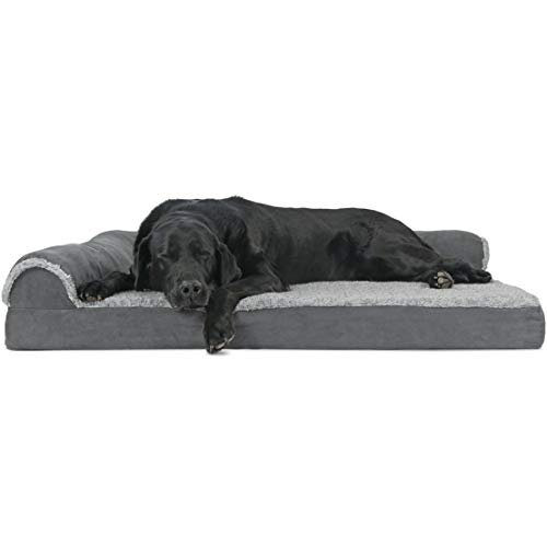 Furhaven Pet Dog Bed - Deluxe Orthopedic Two-Tone Plush Faux Fur and Suede L Shaped Chaise Lounge Sofa-Style Living Room Corner Couch Pet Bed with Removable Cover for Dogs and Cats, Stone Gray, Jumbo