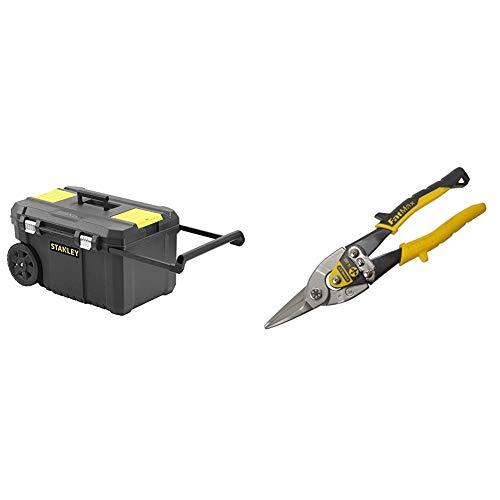 STANLEY STST1-80150 - Arcón para herramientas con cierres metálicos, 66.5 x 40.4 x 34.4 cm, capacidad 40 kg + FATMAX 2-14-563- Tijera de corte recto