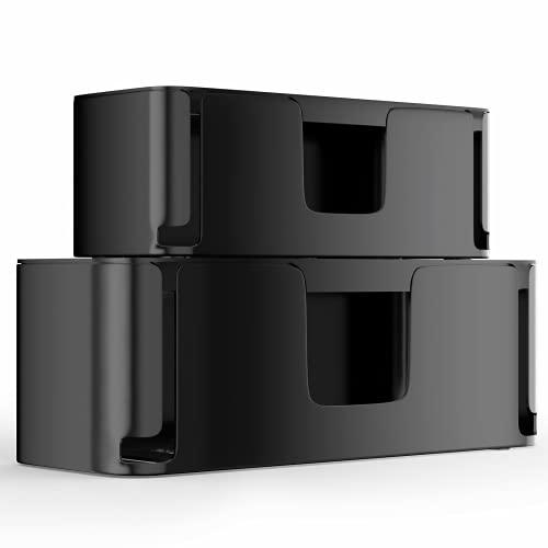 MUDEELA 2 Stück Kabelbox Groß und Klein, Kabelmanagement-Box mit Belüftung, Kabel Organizer zum Verstauen von Steckdosenleisten, Schwarz