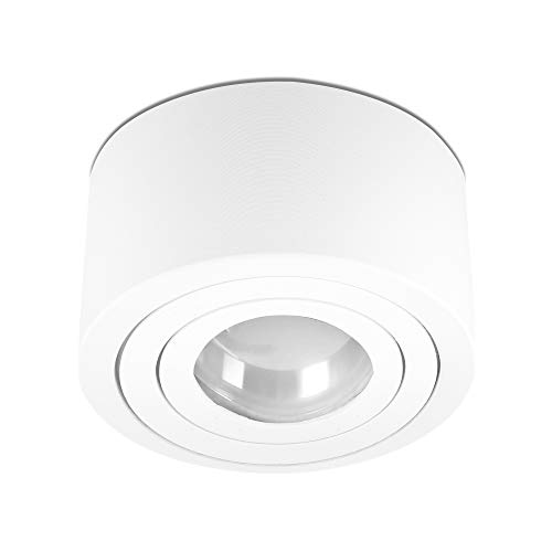 lambado® Flache LED Aufbauleuchte für Feuchtraum/Deckenstrahler inkl. 230V 5W Spots dimmbar - Wasserschutz für Bad & Außen - Aufbaustrahler IP44 in weiss