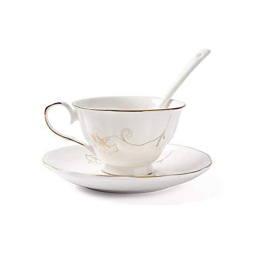 ufengke-ts Bone China Tazze da tè Tazzine da caffè, Motivo Fiore d'oro E Bordo Dorato, Tazza di caffè in Ceramiche Vintage con Piattino E Cucchiaio, per Regalo, La Famiglia E Ufficio -Bianco