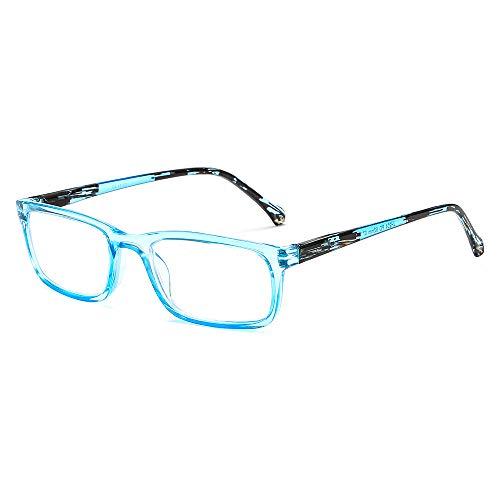 GOBOOMAN Brille Lesebrille mit Federscharnier, Lesebrille 1.0 1.5 2.0 2.5 3.0 3.5 Damen Herren Computer Lesebrille Klare Linse Brille Lesen Lesebrille Lesehilfe (Blau, +1,0 Dioptrien)