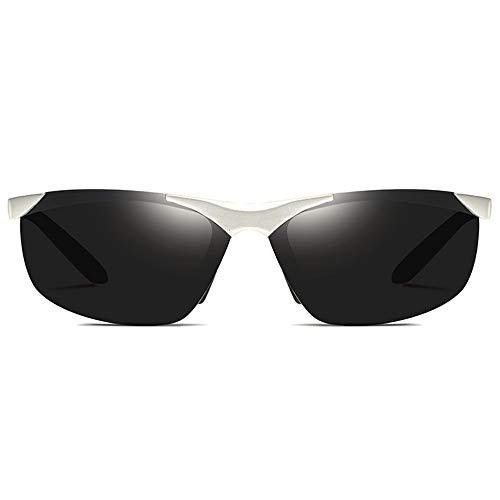 XFSE Gafas de Sol Gafas De Sol Deportivas De Aluminio-magnesio UV400 for Ciclismo Al Aire Libre con Lentes De Conducción En Gris, Plateado Y Gris, con Lentes Grises, Hombres Y Mujeres